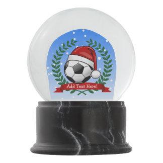Soccer Ball Wearing a Santa Hat Christmas Snow Globe