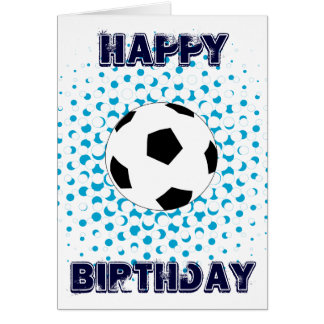 Soccer Ball with blue colours, Happy Birthday Card