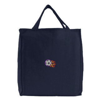 Soccer Ball with Flames Embroidered Tote Bag