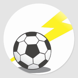 Soccer ball with lightning bolt classic round sticker