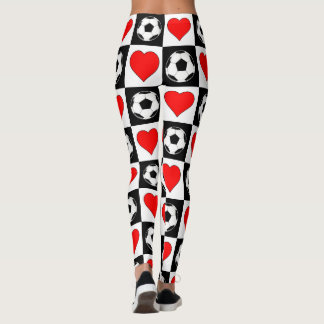 Soccer Balls & Hearts Checkered Compression Pants