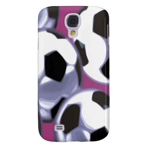 Soccer Balls (purple background) 3G/3GS Cas Galaxy S4 Cover