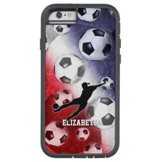 Soccer balls red white blue girl silhouette tough xtreme iPhone 6 case