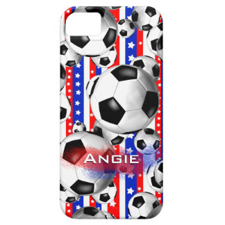 Soccer Balls USA Red White Blue Stars and Stripes iPhone 5 Covers