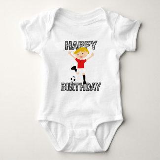 Soccer Birthday Boy 1 Red and White Baby Bodysuit