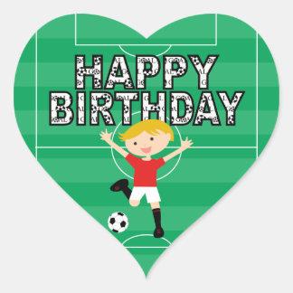 Soccer Birthday Boy 1 Red and White Heart Sticker