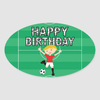 Soccer Birthday Boy 1 Red and White Oval Sticker