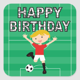 Soccer Birthday Boy 1 Red and White Square Sticker