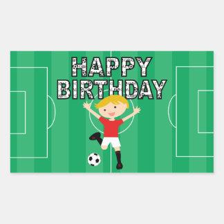 Soccer Birthday Boy 1 Red and White Rectangular Sticker