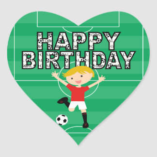 Soccer Birthday Boy 1 Red and White Heart Stickers