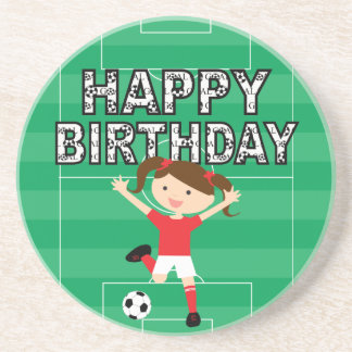 Soccer Birthday Girl 1 Red and White Drink Coaster
