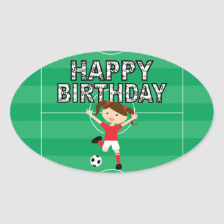 Soccer Birthday Girl 1 Red and White Oval Sticker