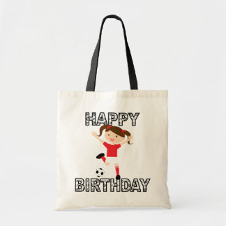 Soccer Birthday Girl 1 Red and White Tote Bag