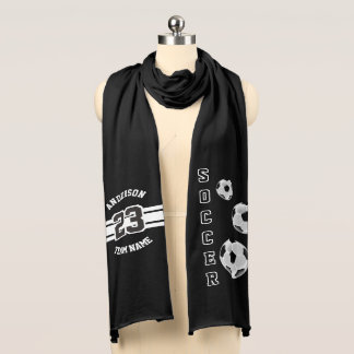 Soccer Black Letter Personalize Scarf Wraps
