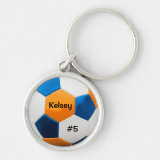 Soccer Blue and Orange Key Ring Silver-Colored Round Key Ring