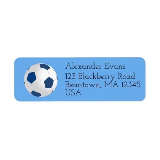 Soccer Blue and White Return Address Label