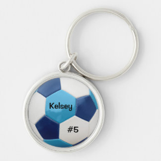 Soccer Blues Keyring Silver-Colored Round Key Ring