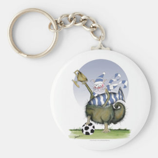 soccer blues kitty key ring