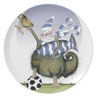 soccer blues kitty plate