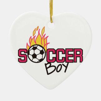 Soccer Boy Ceramic Heart Decoration