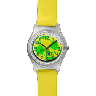 Soccer Brazilian flag customizable name Brasil Watch
