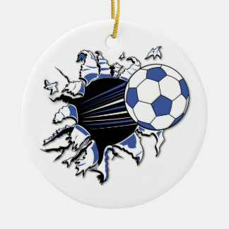 Soccer Burst T-shirts and Gifts Round Ceramic Decoration