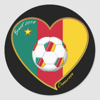 """Soccer """"CAMEROON"""" FOOTBALL Team, Soccer of Classic Round Sticker"""