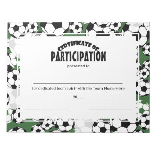 Soccer Certificates of Participation Notepad