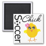 Soccer Chick Square Magnet