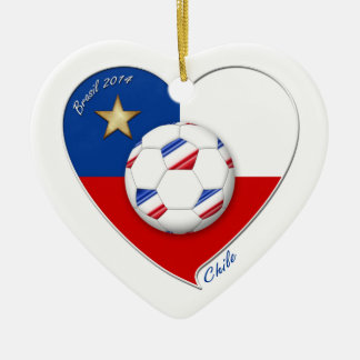 """Soccer """"CHILE"""" 2014. National Chilean soccer team Ceramic Heart Decoration"""