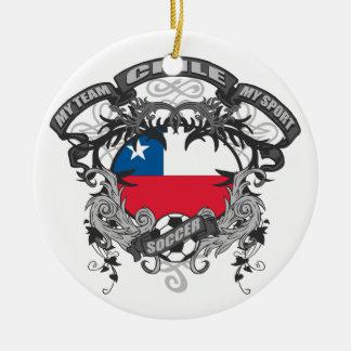 Soccer Chile Round Ceramic Decoration