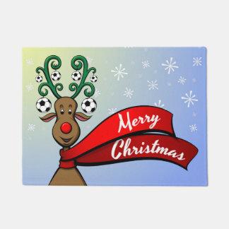 Soccer Christmas Reindeer Doormat