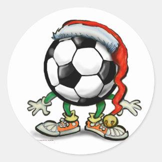 Soccer Christmas Round Sticker