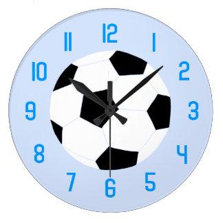 Soccer Clock: Blue Soccer Ball Large Clock