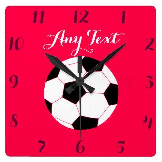 Soccer Clock: Red Custom Wallclock