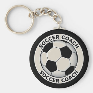 Soccer Coach Basic Round Button Key Ring