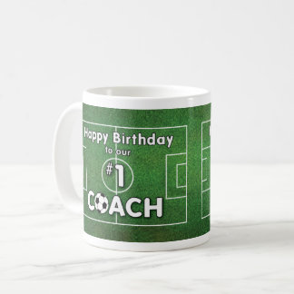 Soccer Coach Birthday with Grass Field and Ball Coffee Mug