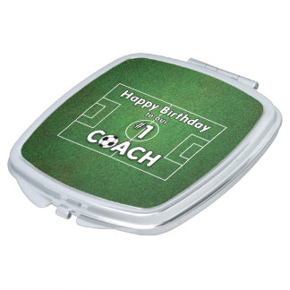 Soccer Coach Birthday with Grass Field and Ball Compact Mirror