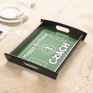 Soccer Coach Birthday with Grass Field and Ball Serving Tray