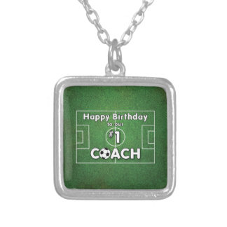 Soccer Coach Birthday with Grass Field and Ball Silver Plated Necklace