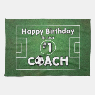 Soccer Coach Birthday with Grass Field and Ball Tea Towel