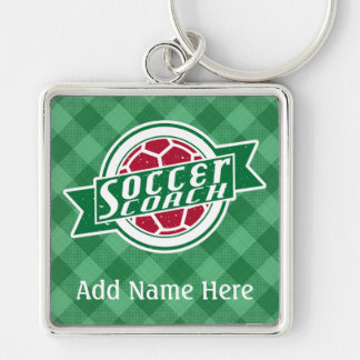 Soccer Coach Customizable Keyring Silver-Colored Square Key Ring