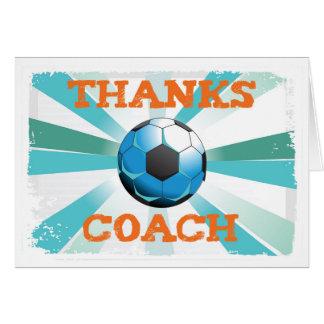 Soccer Coach Thanks, Orange on Teal, Blue Starburs Card