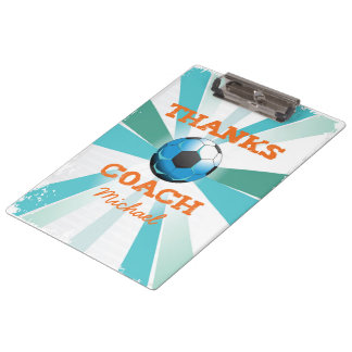 Soccer Coach Thanks, Orange on Teal, Blue Starburs Clipboard