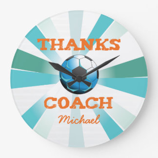 Soccer Coach Thanks, Orange on Teal, Blue Starburs Large Clock
