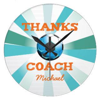 Soccer Coach Thanks, Orange on Teal, Blue Starburs Large Clock