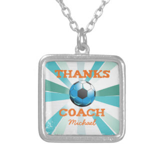 Soccer Coach Thanks, Orange on Teal, Blue Starburs Silver Plated Necklace