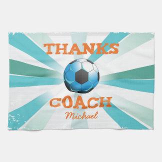 Soccer Coach Thanks, Orange on Teal, Blue Starburs Tea Towel
