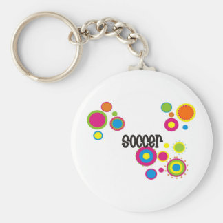 Soccer Cool Polka Dots Basic Round Button Key Ring