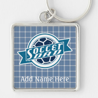 Soccer Dad Customizable Keyring Silver-Colored Square Key Ring